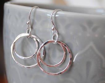 Textured Circle Earrings, 2 circles, O Earrings, Everyday Earrings, Sterling Silver Pretty Earrings