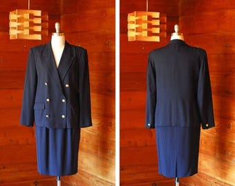 20% off weekend sale / vintage Max Mara dark blue wool and rayon double breasted suit set / size medium