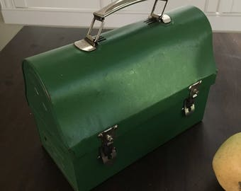 Aluminum green Lunch box industrial chic and rustic miners style