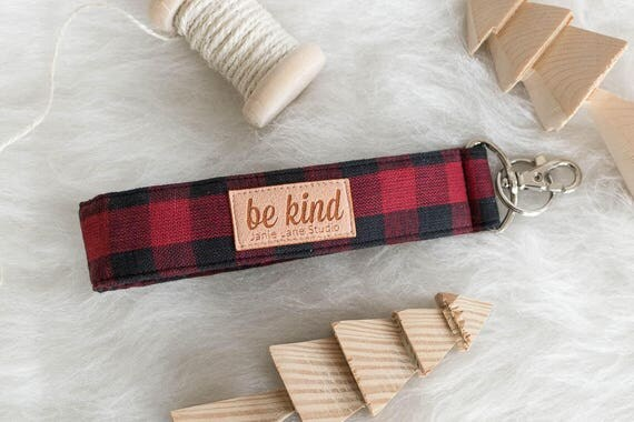 "Buffalo Plaid Key Lanyard | Red and Black Buffalo Check Key Fob with ""Be Kind"" on Label"