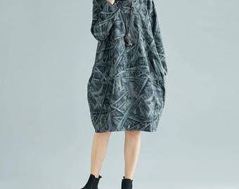 large size Cotton loose fitting High collar dress Women Wear Bottoming dress