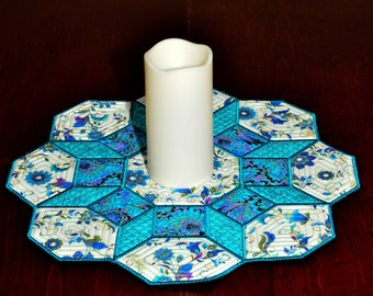 Octagon Table Topper or Candle Mat - Teal Floral Octagon Table Topper or Candle Mat