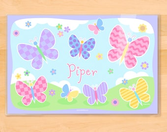 Girls Personalized Butterfly Garden Placemat, Kids Laminated Placemat, Kids Mealtime Placemat, Girls Garden Party, Spring Kids Name Mat