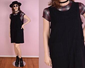 90s Black Jumper Dress/ US 12/ 1990s