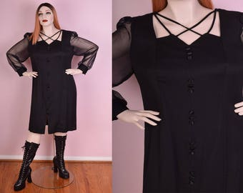 90s Black Sheer Sleeve Dress/ US 18/ 1990s/ Long Sleeve