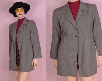 80s Gray Lightweight Coat/ US 9-10/ 1980s