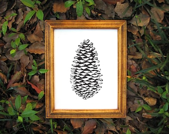 Black Nature Print - Linocut Forest Pinecone Print