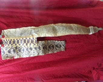 3 real animal tanned hide pelts snake skins parts