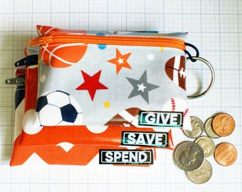 Sports Give Save Spend kids budget wallet set | wipeable cash envelopes for kids