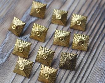 Vintage brass Latvian Police uniform badges. Set of 12.