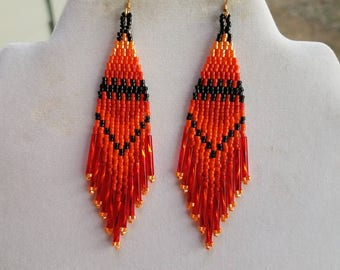 Native American Style Beaded Orange Black Fall Earrings Boho, Southwestern, Hippie long Twisted, Brick Stitch, Peyote, Gypsy, Ready to Ship