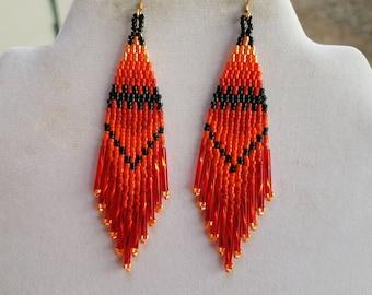 Native American Style Beaded Orange Black Fall Earrings Boho, Southwestern, Hippie long Twisted, Brick Stitch, Peyote, Gypsy, Ready to Ship