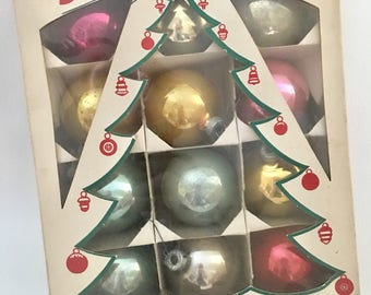 Vintage Shiny Brite Glass Christmas Ornaments, Original Christmas Tree Box, 12 Made in USA, Mid Century Kitsch Decor, Pink Pastel