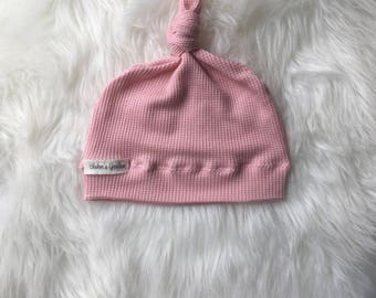 Newborn Hat/ Baby girl Hat/ waffle knit pink Hat/ Baby Knotted Hat/ Knotted Cap/ Organic Cotton Baby Hat/ Newborn Infant Hat/ waffle knit