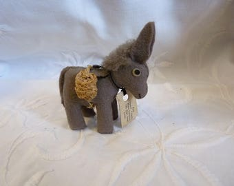 Amazing VINTAGE Felt DONKEY Small 1940s / 50s Lewes Sussex Hand Stitched Made