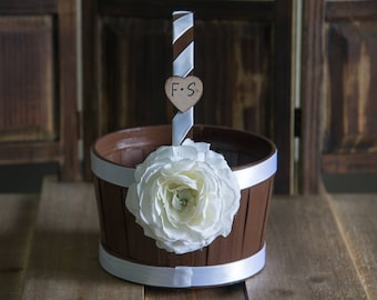 Small Brown Flower Girl Basket Other color selections available