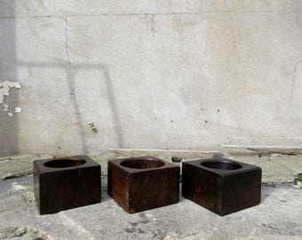 3 x Antique Industrial Wooden Block Bowls - Coin Plate Trays - Price per Bowl