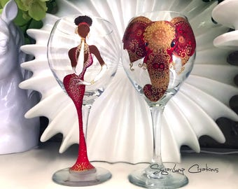 Red and White Sorority Girl Elephant Party Wine Glass