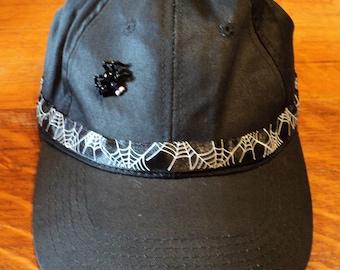 Hand Beaded Black Baseball Cap, Halloween Spider and Web,