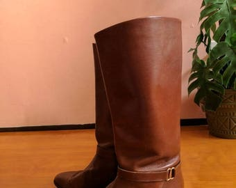 """Summer Sale Size 10 Leather Riding Boots Etienne Aigner """"Shelby"""" British Tan Mid Calf Boot"""