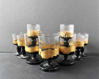 9 Gold Black Glamour Gothic Votive Glasses Candle Set