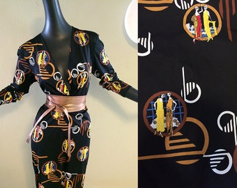 Vintage 1970s Disco Dress 70s does Roaring Twenties 20s Art Deco Flapper Ladies Print Hippie Boho Sexy Plunging Neckline Midi Length Medium