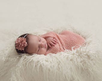 "Blush Stretch Knit Wrap AND/OR 2.5"" Satin Flower Skinny Elastic Headband, photo shoots, wrap set, newborn, bebe foto, by Lil Miss Sweet Pea"