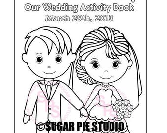 ON SALE Printable Personalized Wedding coloring activity book  Favor Kids 8.5 x 11  PDF or Jpeg Template