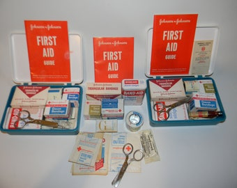 Vintage Johnson and Johnson First Aid Auto Kits with Original  Supplies
