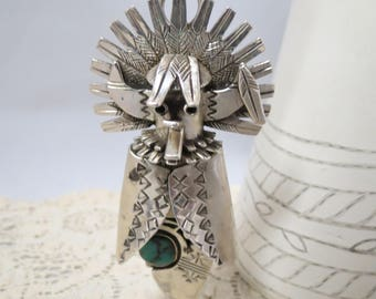 Vintage Nelson Morton Navajo Artist Sterling Silver Turquoise Necklace Hollow Kachina Pendant Brooch Boho