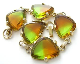 Judy Lee Bracelet Bicolor Glass Stones Outstanding Vintage 1950s Signed Estate Jewelry