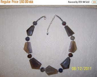 CLEARANCE 40% OFF, Free Form Big gray agate, ceramic and faceted crystal necklace. sterling silver.