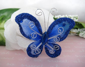 "12 Royal blue Nylon Butterflies for Wedding Decor, Birthday Party, Baby Shower, Table Scatters, Christening, Baptism, 2"" x 2"""