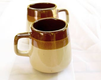 2 Stoneware Mugs, Brown Crockery Coffee Cups, Ceramic Earthenware, Three Tone with Stripes, Set of Two