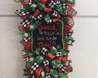 Christmas Swag, Whimsical Christmas Swag, Santa Swag, Christmas Wreath