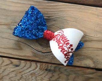 White Felt Bow Red White and Blue 4th of July Hair Bow Baby Girl Bow Headband Photography Prop Newborn Heabands Glitter Hair Bow