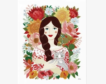 Fine art paper goods by oanabefort on etsy pre order girl cat 8x10 gicle art print fandeluxe Images