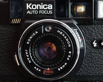 Fun with Film, Konica C35 AF Mk 2, 35mm film camera with AF activated rangefinder in good working condition (except flash) c 1982