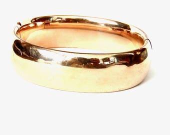 Vintage Gold Filled Hinged Bangle Bracelet, Yellow Gold