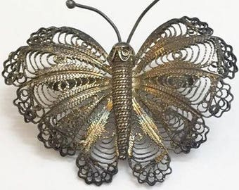 Vintage Spun Sterling Silver Butterfly Brooch