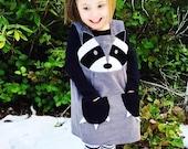Raccoon girls cord pinafore dress , raccoon costume