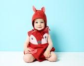 Linen Baby fox romper with fox ears bonnet