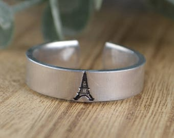 Eiffel Tower Adjustable Ring- Hand Stamped Aluminum Paris Ring - Any Size 4, 5, 6, 7, 8, 9, 10, 11, 12 half and quarter sizes available