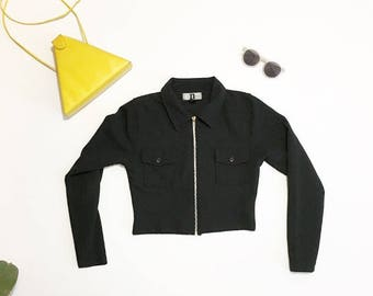 Zip Crop Top Black Jacket Small