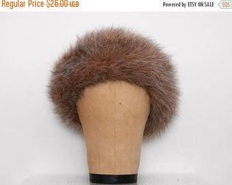 SALE Vintage Brown Faux Fur Hat 1980s