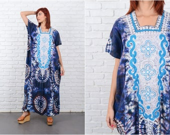 Vintage 70s Tie Dye Psychedelic Print Dress Caftan Hippie Boho S M L 9574
