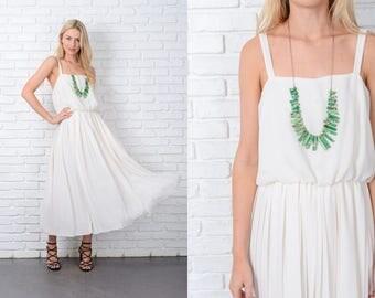 Vintage 70s Cream Dress Accordion Pleated Midi Boho Medium M 9785 vintage dress 70s dress accordion dress pleated dress