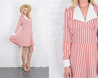 Vintage 60s 70s Striped Mod Dress Red + White Puff Sleeve Mini A Line Medium M 10059