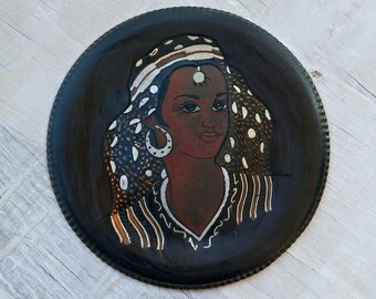 India Woman Plate, Copper Art Wall Plate Ethnic Decor, Vintage Original Woman Painting, Metal Fusion Art Copper Relief, Collector's Folk Art