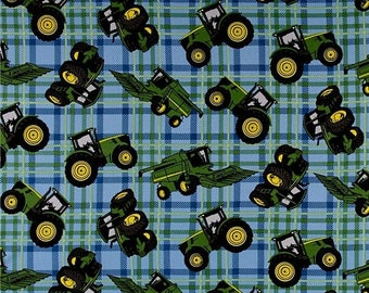 SUMMER SALE John Deere Farm Tractors on Blue Plaid from Springs Creatives